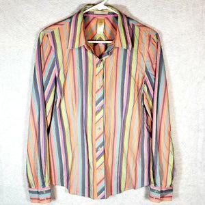 Liz Claiborne Pastel Striped Button Up Blouse